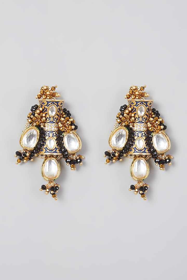 Gold Finish Kundan Polki Handcrafted Earrings by D'ORO