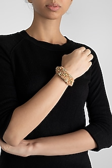 Gold Finish Agate Bead Bracelet by D'Oro