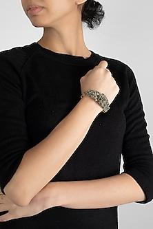 Gold Finish Agate Beaded Bracelet by D'Oro