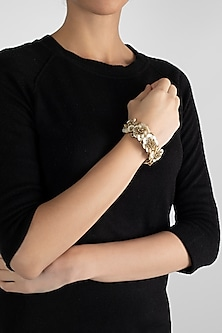 Gold Finish Freshwater Pearl Bracelet by D'Oro