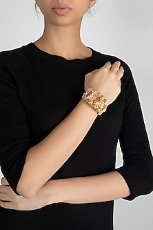 Gold Finish Handcrafted Beaded Bracelet by D'Oro