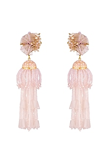 Gold Finish Pastel Beaded Earrings by D'Oro