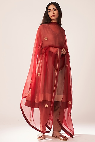 Blush Pink Chanderi Kurta Set by Dot