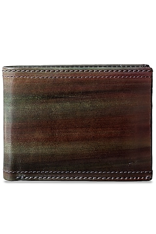 Green & Brown Hand Painted Wallet by Doux Amour