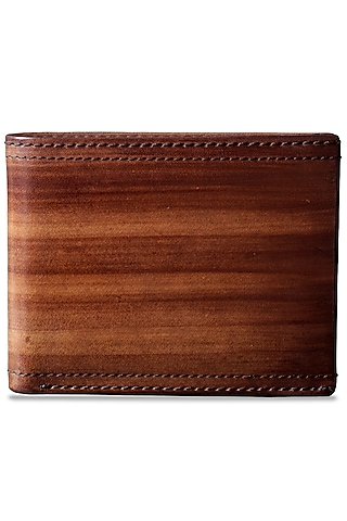 Tan Hand Painted Leather Wallet by Doux Amour
