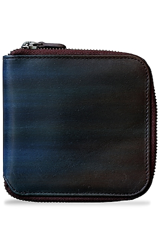 Brown & Aqua Blue Painted Wallet With Zip by Doux Amour