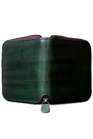 Green Painted Wallet With Zip by Doux Amour