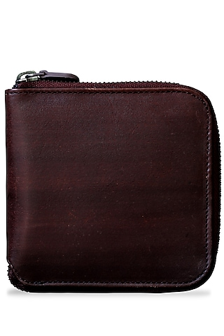 Dark Brown Painted Wallet With Zip by Doux Amour