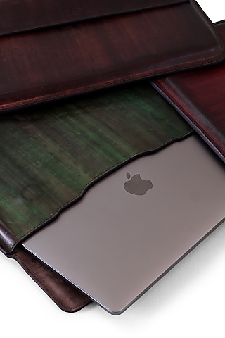 Green & Brown Hand Painted Macbook Sleeve by Doux Amour