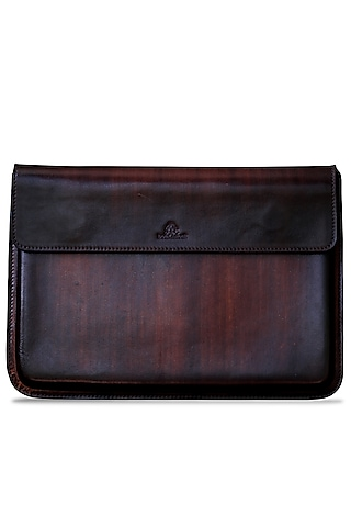 Dark Brown Hand Painted Macbook Sleeve by Doux Amour
