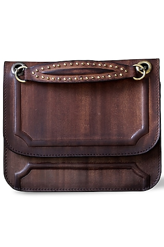 Brown Hand Painted Crossbody Bag by Doux Amour