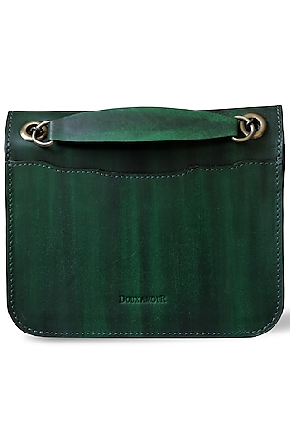 Emerald Green Hand Painted Crossbody Bag by Doux Amour