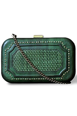Green Hand Painted Clutch by Doux Amour