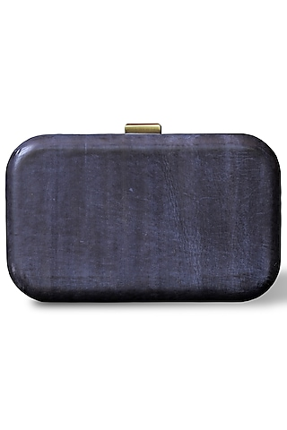 Blue Hand Painted Clutch by Doux Amour