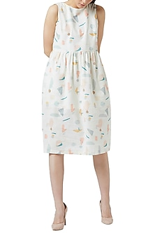 White Digital Printed Gathered Dress by Doodlage