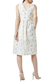 White Digital Printed Gathered Dress by Doodlage
