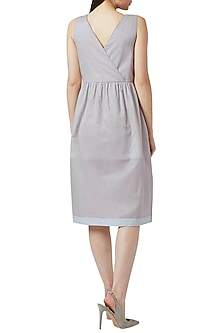 Grey Floral Embroidered Dress by Doodlage