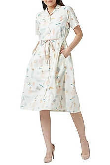 White Digital Printed Pleated Dress by Doodlage