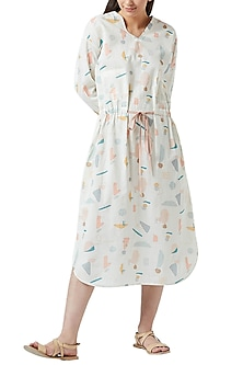 White Digital Printed Dress With Drawstrings by Doodlage