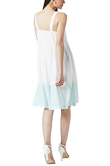 White & Blue Gathered Dress by Doodlage