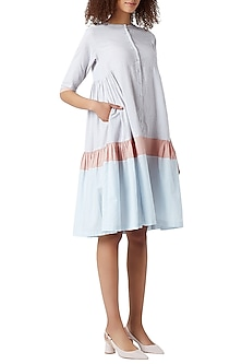 White Striped Gathered Dress by Doodlage