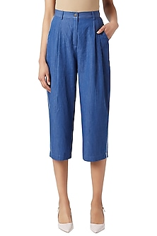 Blue Denim Pleated Pants by Doodlage