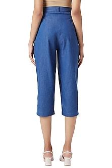 Blue Denim Pleated Pants by Doodlage