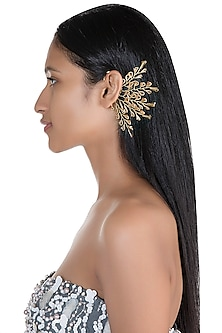 Gold Finish Crystal & Beads Earcuff by D'ORO