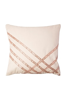 Off White Cushion With Line Rose Gold Embroidery (Set of 2) by Pink Peacock Couture Home