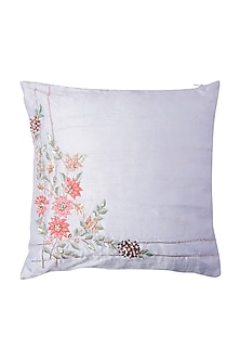 Blue Cushion With Rose Gold Flower Embroidery (Set of 2) by Pink Peacock Couture Home