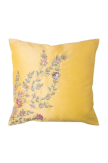 Yellow Cushion With Rose Gold Flower Embroidery (Set of 2) by Pink Peacock Couture Home