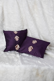 Purple Cushion With Flower Butta Embroidery (Set of 2) by Pink Peacock Couture Home