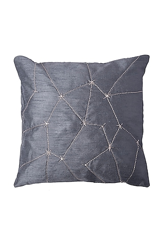 Grey Cushion With Abstract Line Embroidery (Set of 2) by Pink Peacock Couture Home