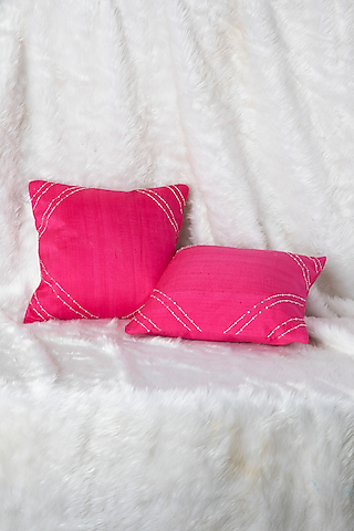 Hot Pink Cushion With Line Embroidery (Set of 2) by Pink Peacock Couture Home