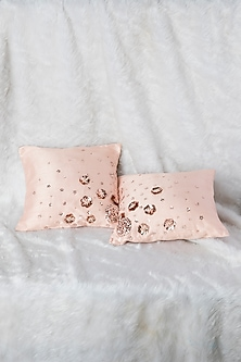 Peach Pink Cushion With Flower Embroidery (Set of 2) by Pink Peacock Couture Home