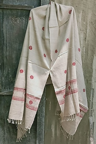 Beige & Red Floral Handwoven Shawl by Dipika Kakati