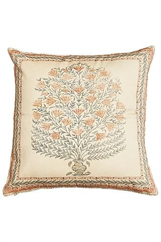 Beige Square Cushion With A Filler by Ritu Kumar Home