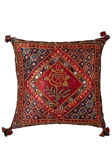 Red Printed Square Cushion With A Filler by Ritu Kumar Home