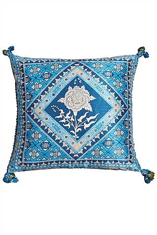 Blue Kutch Printed Square Cushion With A Filler by Ritu Kumar Home