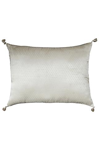 Ecru Mirror Rectangle Cushion With Filler by Ritu Kumar Home