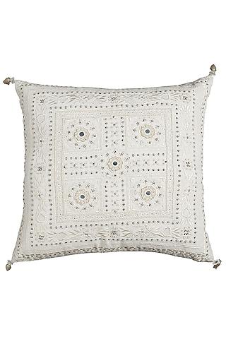 Ecru Square Cushion With Filler by Ritu Kumar Home