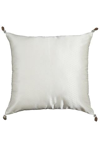 Ecru Embroidered Square Cushion With Filler by Ritu Kumar Home