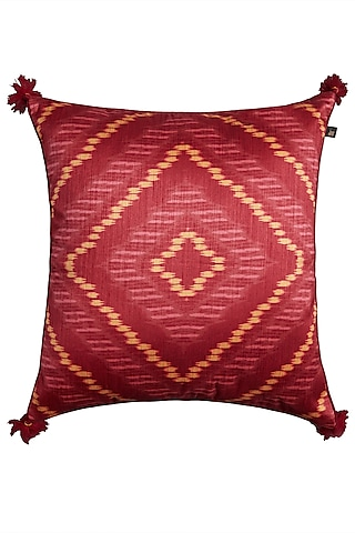 Red Ikkat Print Square Cushion With Filler by Ritu Kumar Home