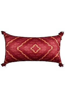 Red Multi Ikkat Printed Rectangle Cushion With Filler by Ritu Kumar Home