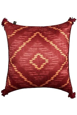 Pink Multi Ikkat Printed Cushion With Filler by Ritu Kumar Home