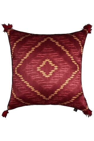 Orange Ikkat Printed Cushion With Filler by Ritu Kumar Home