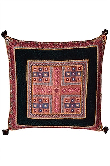 Green Square Cushion With Filler by Ritu Kumar Home
