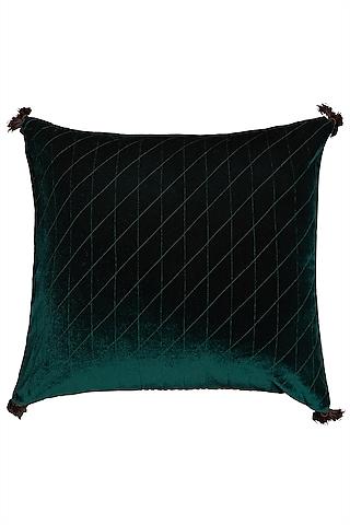 Green Square Cushion With Filler by Ritu Kumar Home