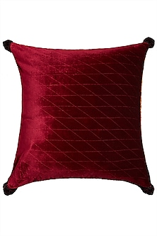 Burgundy Square Cushion With Filler by Ritu Kumar Home