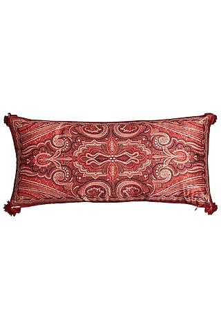 Maroon Jamawar Printed Rectangle Cushion With Filler by Ritu Kumar Home